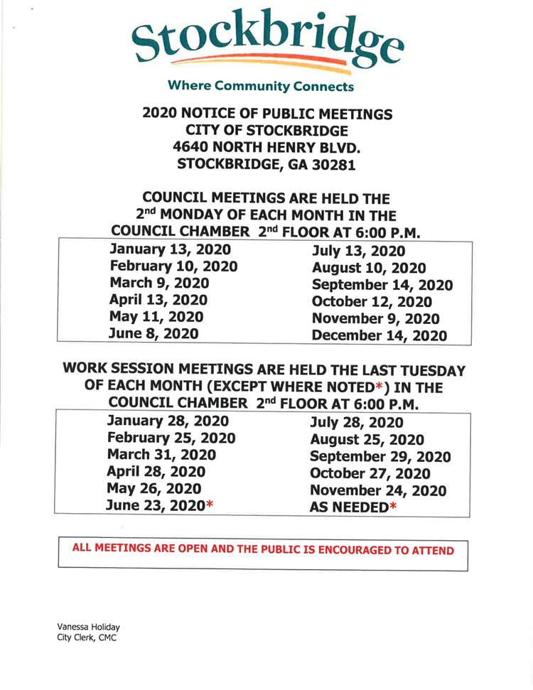 2020 Meeting Schedule
